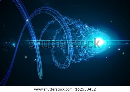 Futuristic shiny spiral on black background