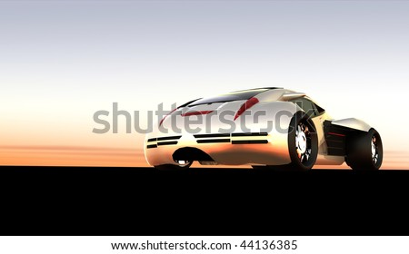 Futuristic silver concept sports car at horizon sunset / sunrise