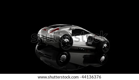 Futuristic silver concept sports car isolated in black studio with reflections