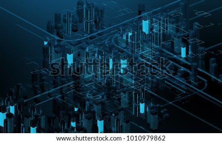 Futuristic skyscrapers in the flow. The flow of digital data. city of the future. 3D illustration. 3D rendering