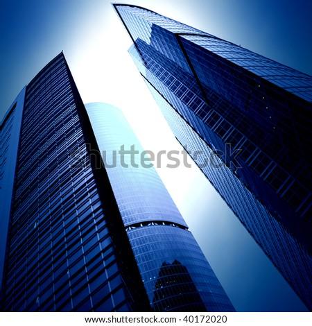 futuristic skyscrapers of downtown
