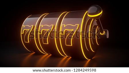 Futuristic Slot Machine Concept With Orange Neon Lights Isolated On The Black Background - 3D Illustration