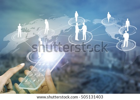 futuristic smart phone and worldwide communication network concept, abstract image visual #505131403