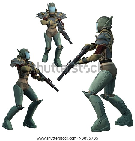 Futuristic Soldier, 3D render of a female of the future