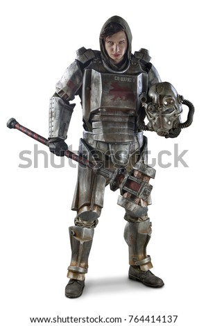 Stock Photo Futuristic soldier in steel armor with the cyber punk hummer. Isolated on white.