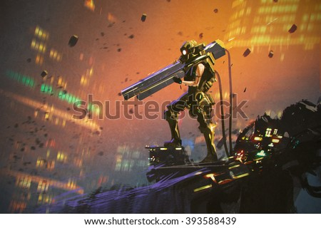 futuristic soldier in yellow suit with gun,illustration painting