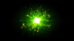 Futuristic space particles  in bright round energy structure. space orb VFX design element. Abstract colorful lights background animation energy ray of power electric magnetic.