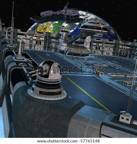 Futuristic space station