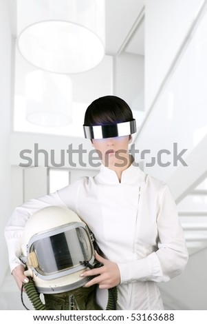 stock photo : futuristic spaceship aircraft astronaut helmet woman modern
