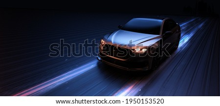 Futuristic sports car in motion - front perspective view (non-existent car design, full generic) -3d render, 3d illustration