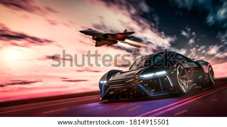 Futuristic sports car racing with fighter jet on dramatic cloudy environment (3D Illustration)