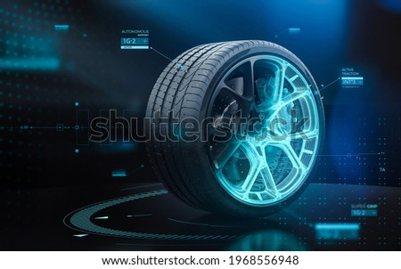 Futuristic sports car tyre technology concept with rim wireframe intersection (3D illustration) Photo stock ©