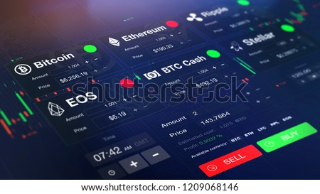 Futuristic stock exchange (crypto currency) with chart, numbers and BUY and SELL options (3D illustration)