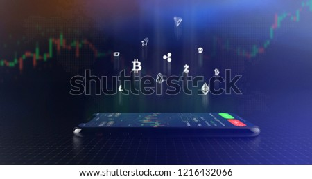 Futuristic stock exchange scene with crypto currency icons and smartphone  (3D illustration)