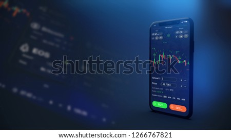 Futuristic stock exchange scene with mobile phone running concept trading app (3D illustration)