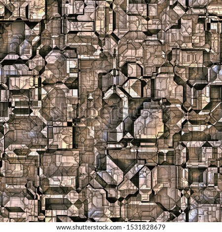 Futuristic structures of buildings of a strange city or parts of unknown technology. Seamless digital texture for multiple uses. 5000 x 5000 px