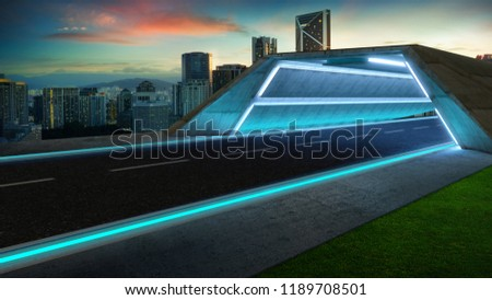 Futuristic style highway tunnel road with blue neon light and cityscape background . #1189708501
