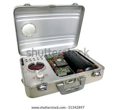 futuristic suitcase bomb isolated on white