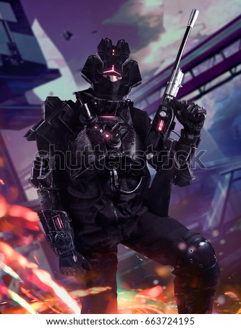 Stock Photo Futuristic swat soldier on a future city background. Swat soldier in futuristic tactical outfit armor and weapons standing on a science fiction background with glowing lights effect.