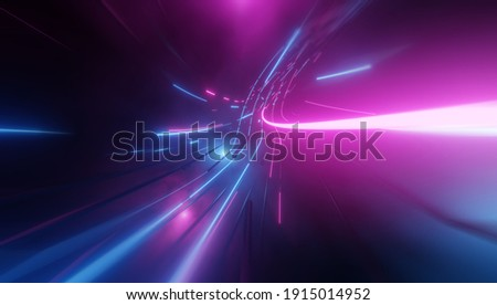 Futuristic technology abstract background with lines for network, big data, data center, server, internet, speed. Abstract neon lights into digital technology tunnel. 3D render