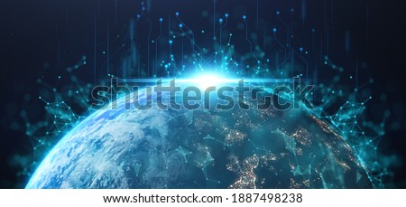 futuristic technology concept, happy new day in earth on planet background with connection of comunitity technology , high growth of tech around world  Elements of this image furnished by NASA Stockfoto ©