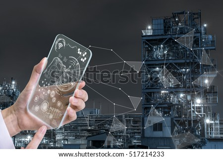 futuristic transparent smart device and modern factory, industry4.0, Internet of Things, technological abstract