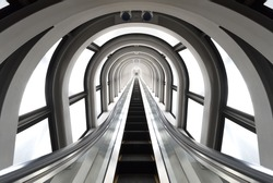 Futuristic tunnel and escalator