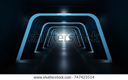 Futuristic tunnel. 3D rendering image