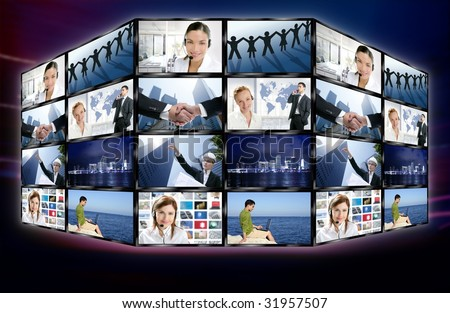 Futuristic tv video news digital screen wall with business concepts [Photo Illustration]