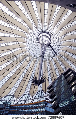 Futuristic umbrella-like tent roof at Sony Center, Potsdamer Platz, Berlin, Germany