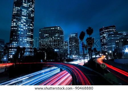 Futuristic Urban City, Los Angeles California - stock photo