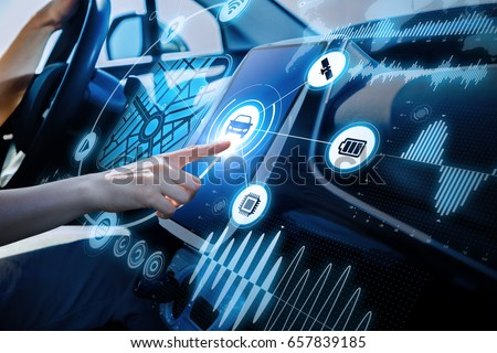 futuristic vehicle and graphical user interface(GUI). intelligent car. connected car. Internet of Things. Heads up display(HUD). #657839185