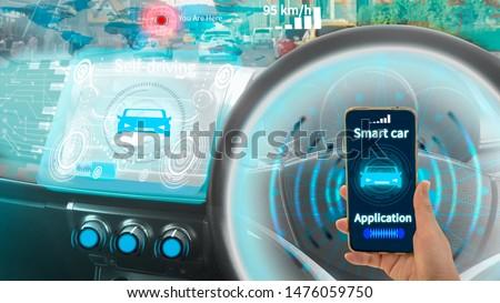Futuristic vehicle smart car cockpit,graphic user interface(GUI)digital hologram,virtual screen system HUD(Head Up Display),self driving mode autonomous control,via wireless network smart phone device #1476059750