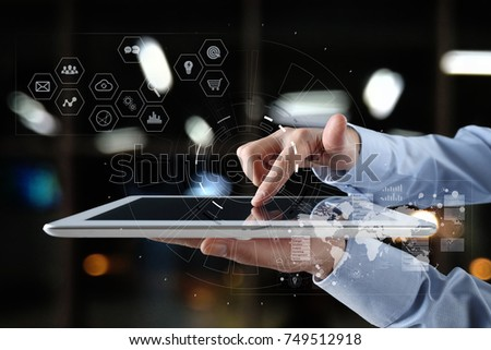 Futuristic virtual screen hologram. Business internet and technology concept. Modern computer. VR. Virtual reality. #749512918