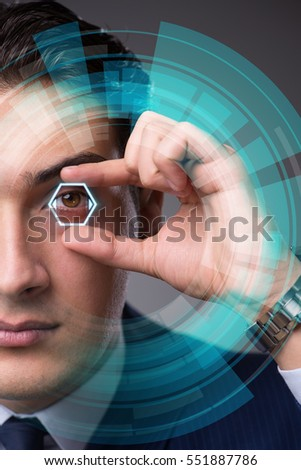 Stock Photo Futuristic vision concept with businessman
