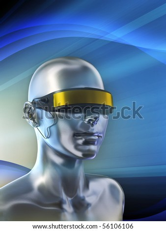 Futuristic vision device on a female android. Digital illustration.