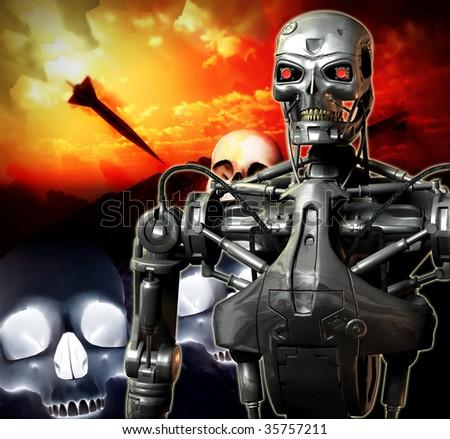 Futuristic war involving androids.