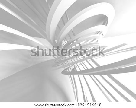 Futuristic White Architecture Design Background. 3d Render Illustration #1291516918