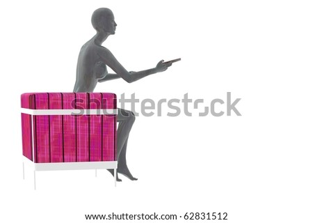 futuristic woman render with tv remote and chair