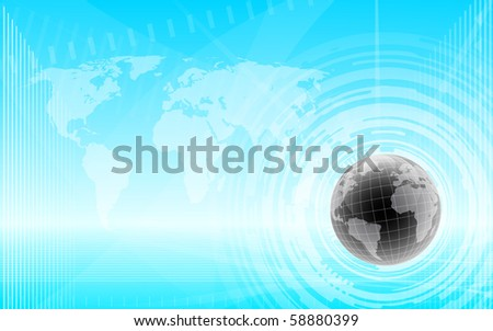 futuristic world map techno background