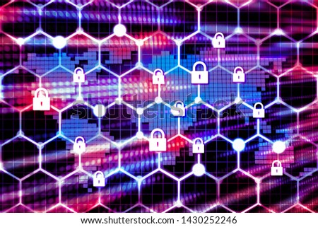 Futuristic world network security locks sereen with red and blue speed light dot on background,illustration picture Stockfoto ©