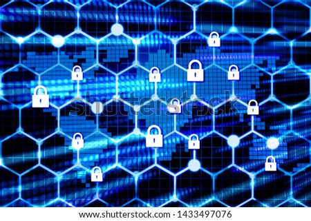 Futuristic world network security locks sereen with speed light dot on background,illustration picture Stockfoto ©