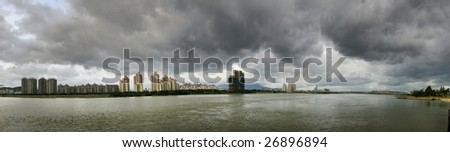Fuzhou cityscape Panorama before storm in the southeast of China, viewed from Min riverside