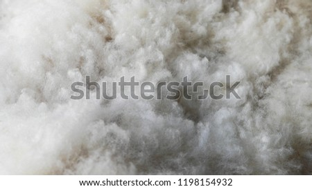 Fuzzy and white pure sheep wool. Beautiful texture that looks like clouds.