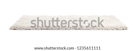 Fuzzy carpet on white background. Interior element