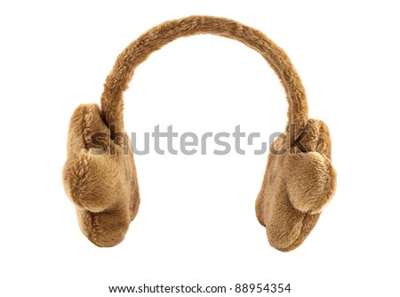 Fuzzy Winter Ear-Muffs, isolated on white.