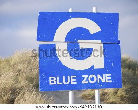 G blue zone sign #649182130
