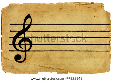 G Clef and musical staff on parchment texture paper