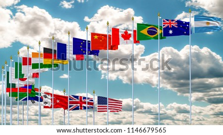G20 flag summit Silk waving flags countries of members Group of Twenty political 2018 world leaders unity  meeting G 20 organization with flagpole on background  blue sky with clouds 3D illustration