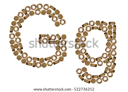 G, g, alphabets, consonants, images, pictures, isolated, nut font #522736252
